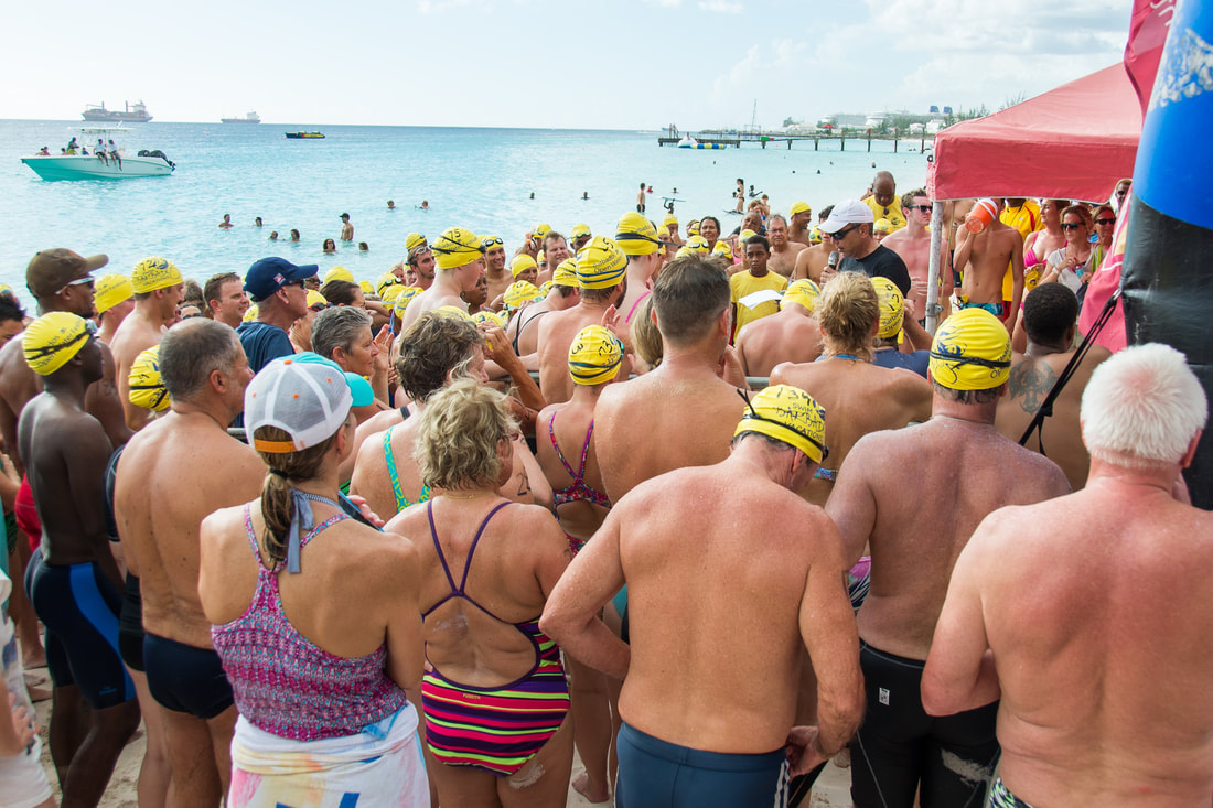 Swimmer briefing at Barbados Open Water Festival