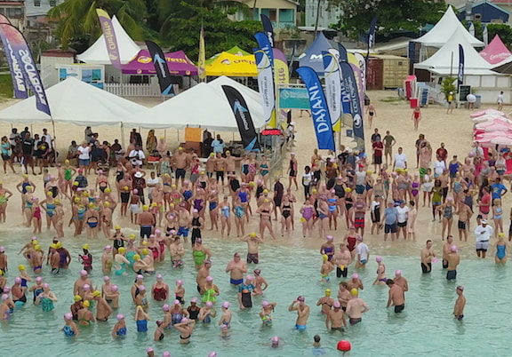 Swimmers gathering at Barbados Open Water Festival 2018
