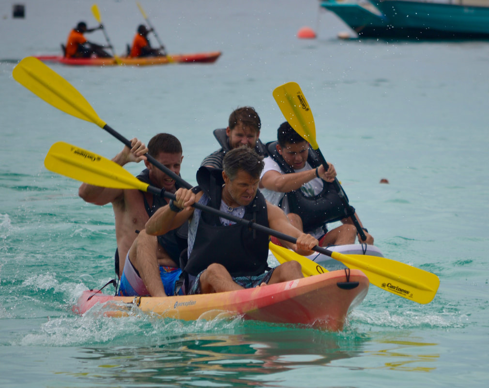 Cameron Bellamy in Charity Kayak race Barbados