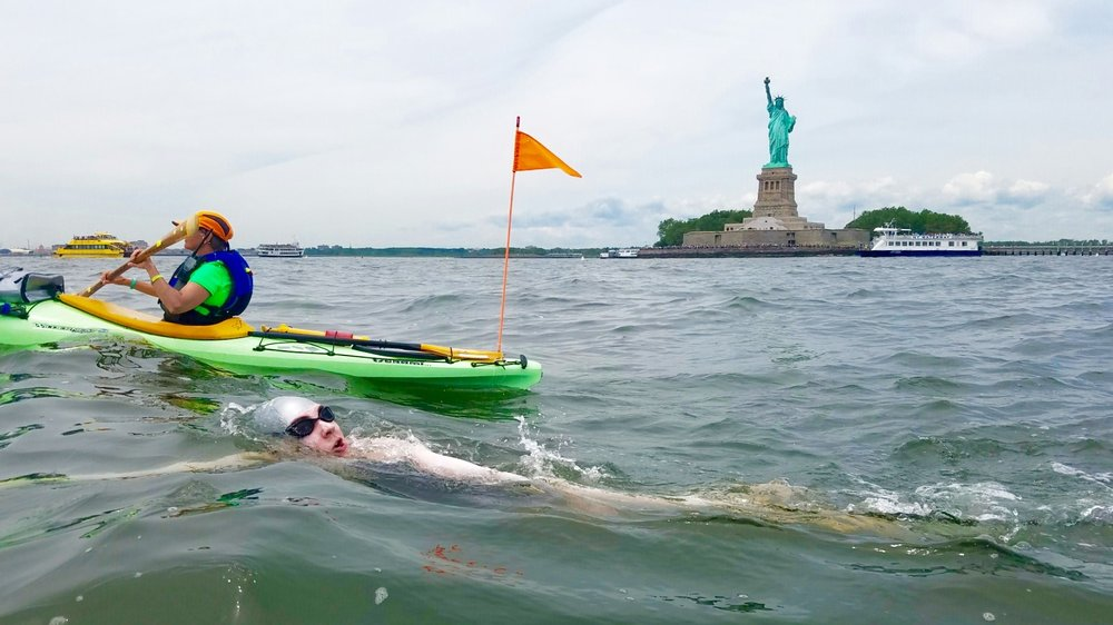 Jaimie,  swimming around Manhattan will swim in Barbados in November.
