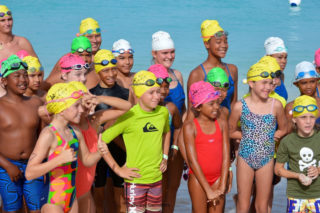 Young open water swimmers Barbados